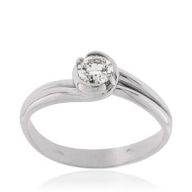 White gold solitaire ring with 0.33ct diamond | Gioiello Italiano