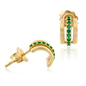 18kt yellow gold earrings with green cubic-zirconia