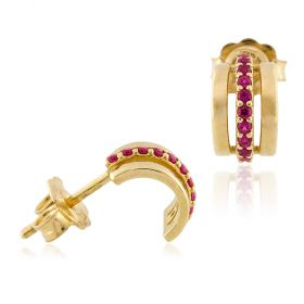 18kt yellow gold earrings with red cubic-zirconia