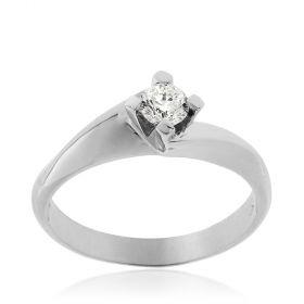 18kt white gold solitaire ring with 0.28ct diamond | Gioiello Italiano