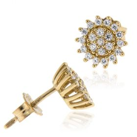 18kt yellow gold earrings with zircons pave