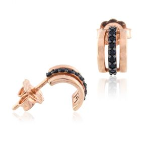 18kt rose gold earrings with black cubic-zirconia