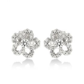 Silver flower earrings with natural stones | Gioiello Italiano