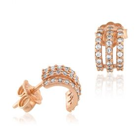 18kt rose gold earrings with white cubic-zirconia