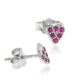 "18kt white gold ""Strawberry"" earrings with red zircons"