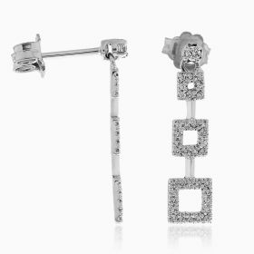 Squared silver earrings with cubic zirconia