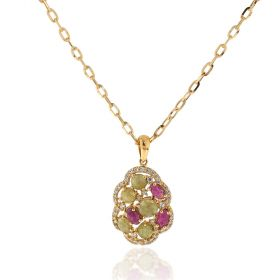Yellow gold necklace with green agate and pink sapphire