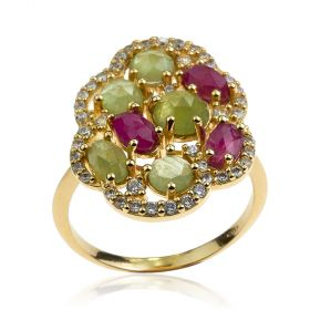 Yellow gold ring with green agate and pink sapphire