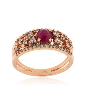 Rose gold ring with pink sapphire and cubic zirconia