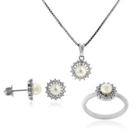 Silver set with pearls and white cubic zirconia