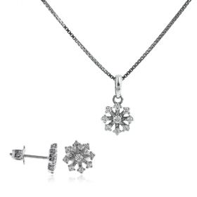 Silver flower set with white cubic zirconia
