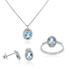 Oval white gold set with diamonds and aquamarine