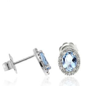 Oval earrings in white gold with aquamarine and diamonds | Gioiello Italiano