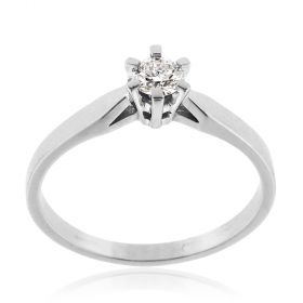 White gold solitaire ring with 0.23ct diamond | Gioiello Italiano