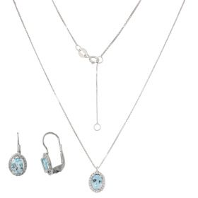 White gold set with topaz and zircons