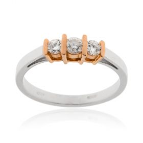Anello trilogy in oro 18kt e diamanti 0.50ct