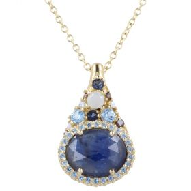 Yellow gold necklace with colored sapphire root and quartz