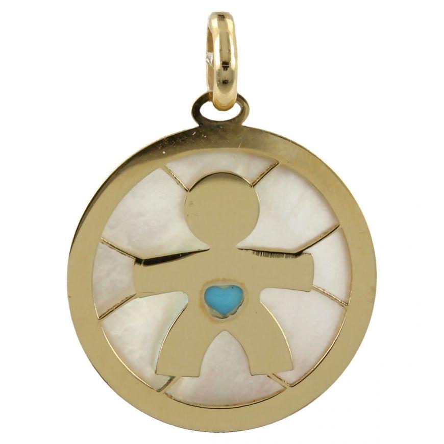 "Pendant ""Boy"" in yellow gold and mother-of-pearl | Gioiello Italiano"