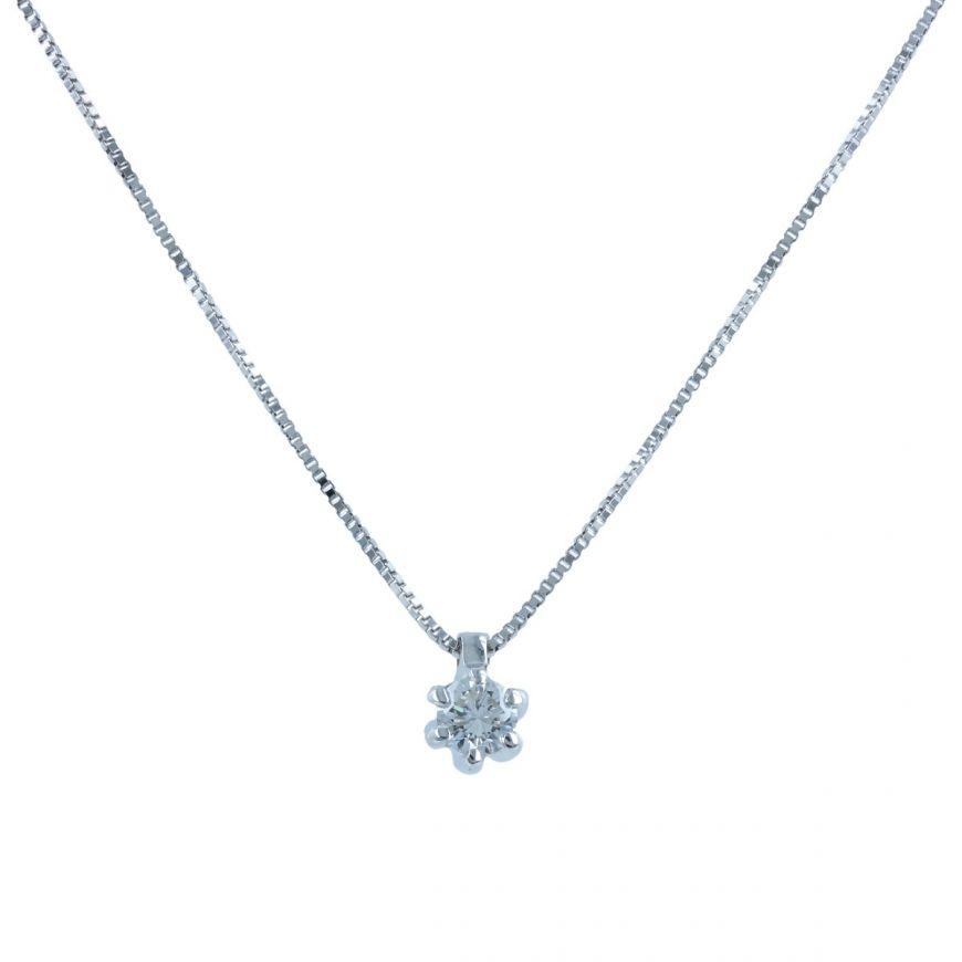 White gold point light necklace with 0.23ct diamond | Gioiello Italiano