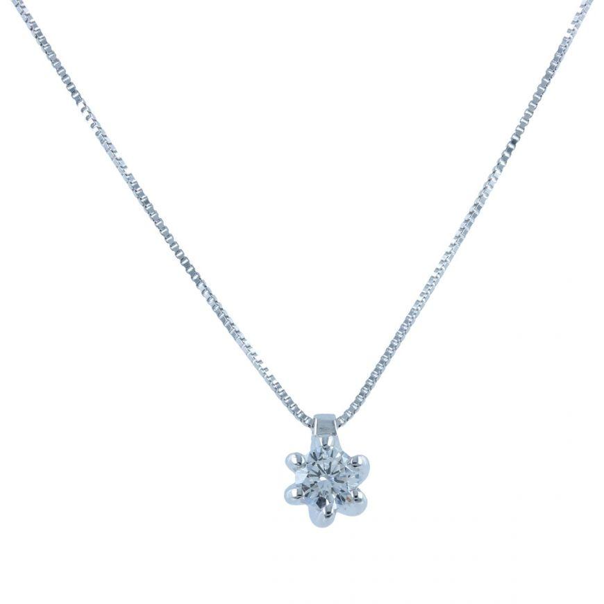 White gold point light necklace with 0.29ct diamond   Gioiello Italiano