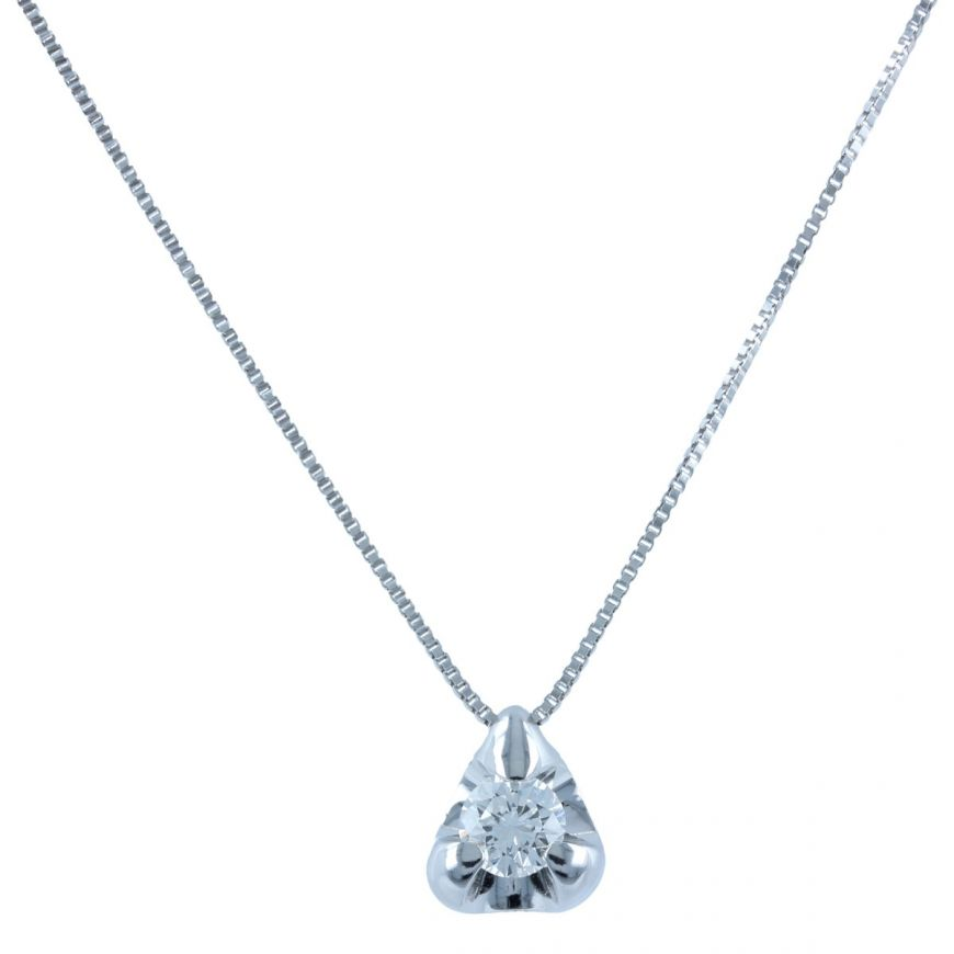 White gold point light necklace with 0.27ct diamond | Gioiello Italiano