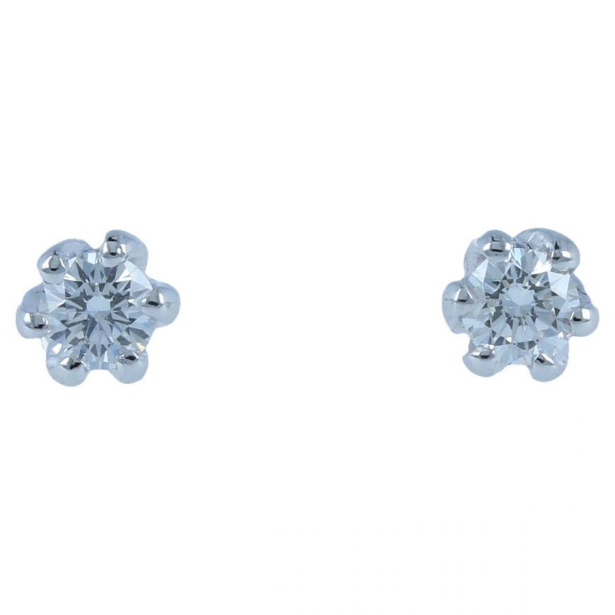 Orecchini punto luce in oro bianco con diamanti 0.34ct | Gioiello Italiano