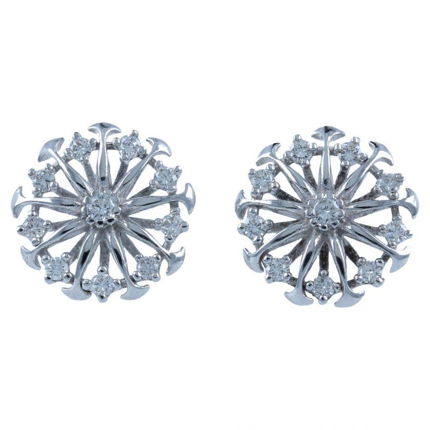 Orecchini a raggi in oro bianco con diamanti | Gioiello Italiano