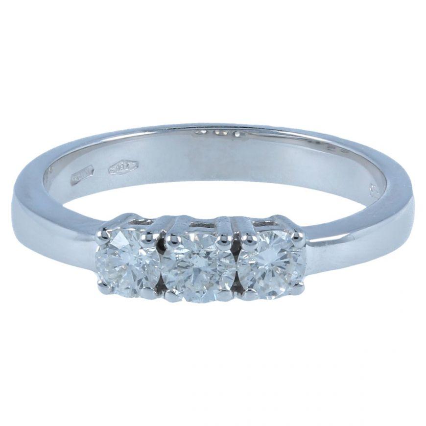 White gold trilogy ring with 0.45ct diamonds | Gioiello Italiano