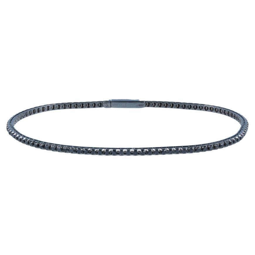 Tennis bracelet in burnished gold with black diamonds | Gioiello Italiano