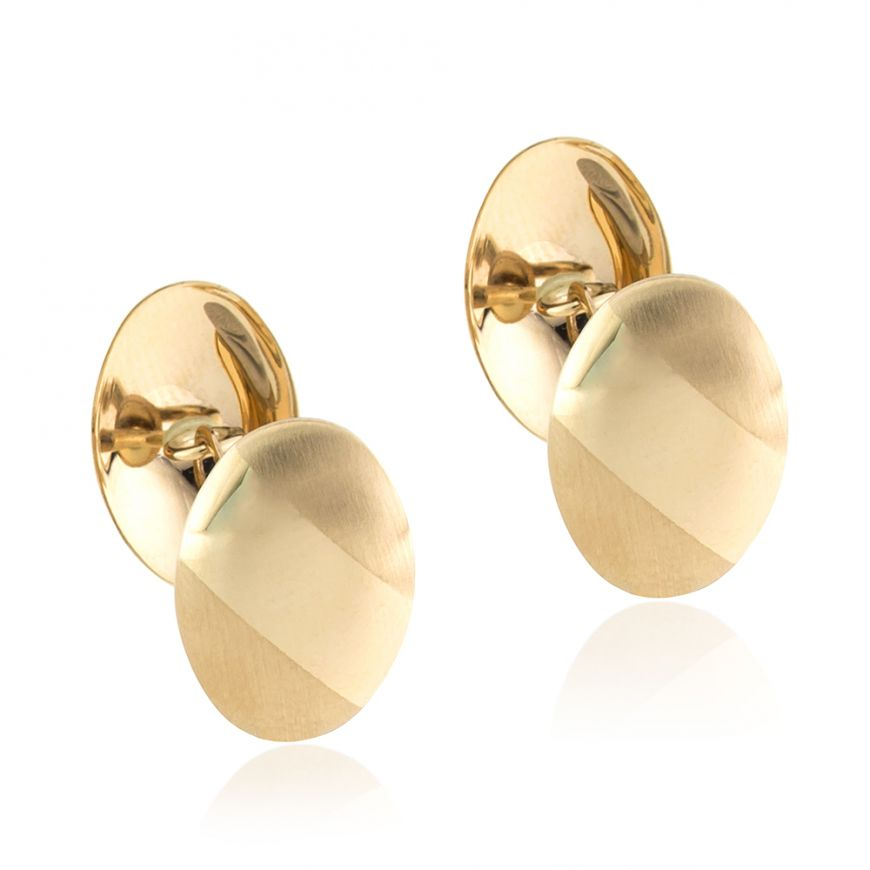 14kt yellow gold satinized and polished cufflinks | Gioiello Italiano