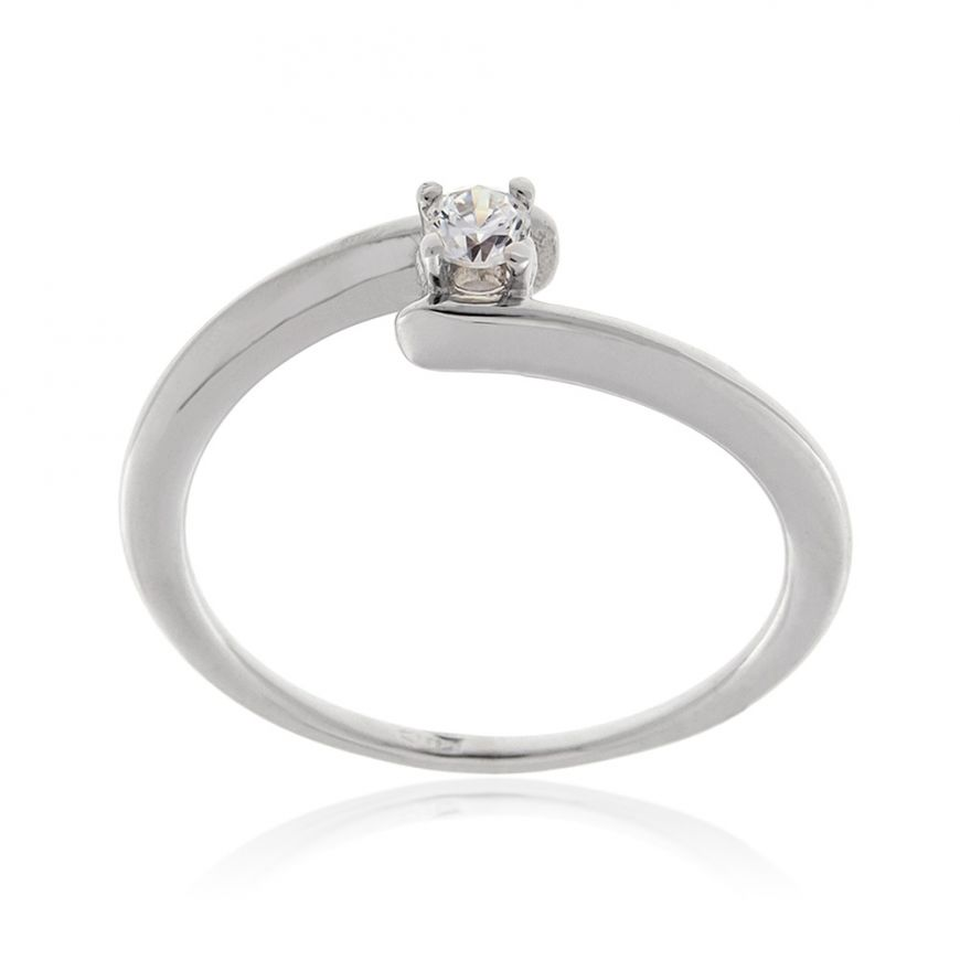 14kt white gold solitaire ring with zircon | Gioiello Italiano