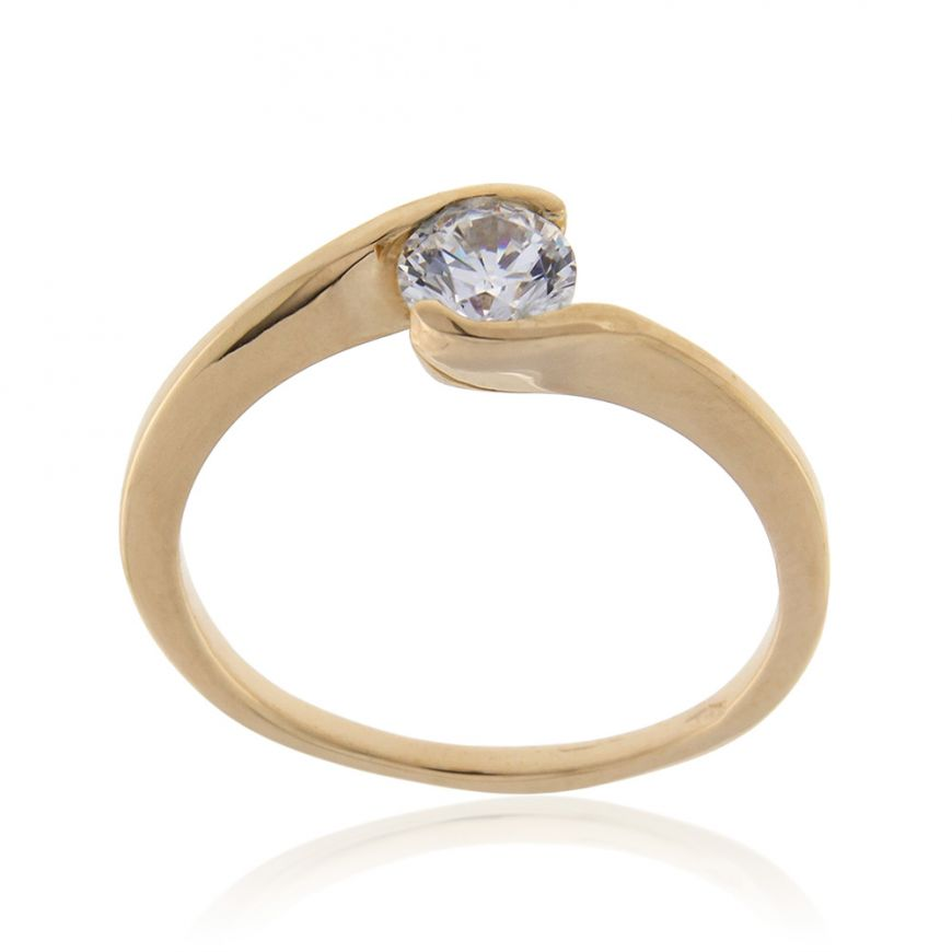 14kt yellow gold solitaire ring with cubic zirconia | Gioiello Italiano