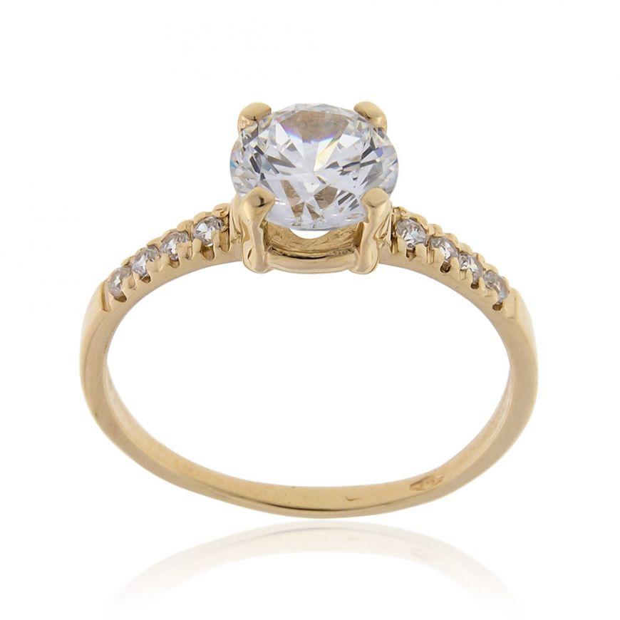 Yellow gold solitaire ring with cubic zirconia | Gioiello Italiano
