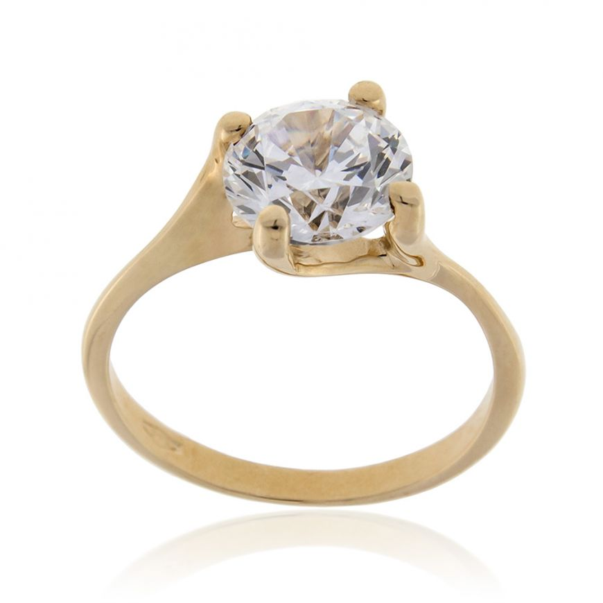14kt yellow gold solitaire ring with zircon | Gioiello Italiano