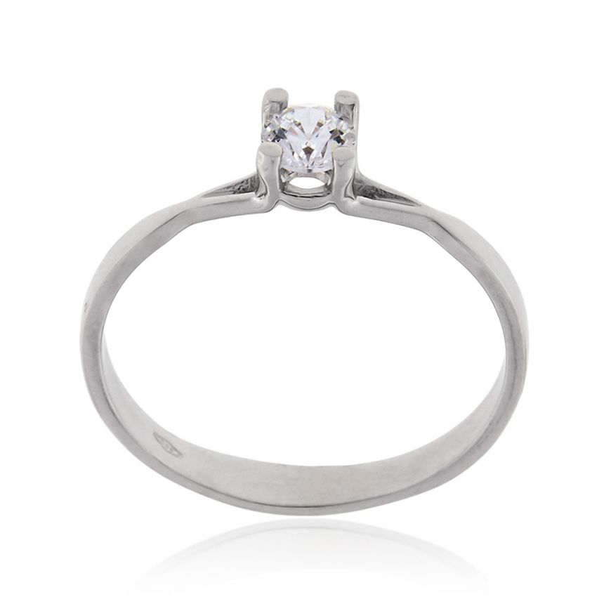 14kt white gold solitaire ring with white zircon | Gioiello Italiano