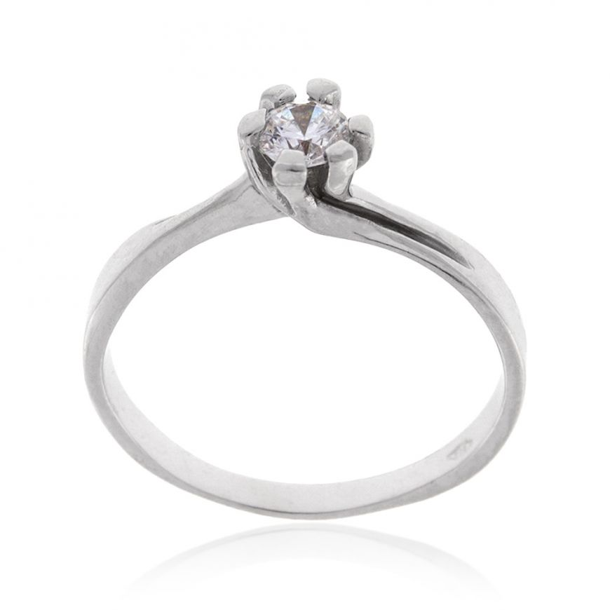 White gold solitaire ring with cubic zirconia stone | Gioiello Italiano
