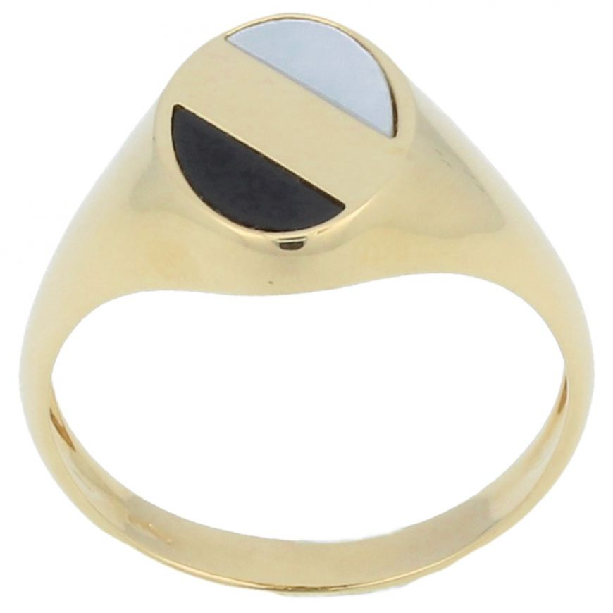 Yellow gold ring with onix and mother-of-pearl | Gioiello Italiano