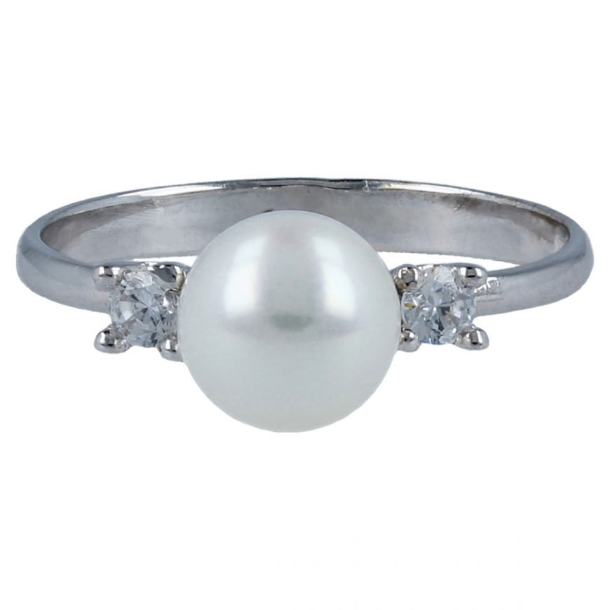 14kt white gold ring with pearl and cubic zirconia | Gioiello Italiano