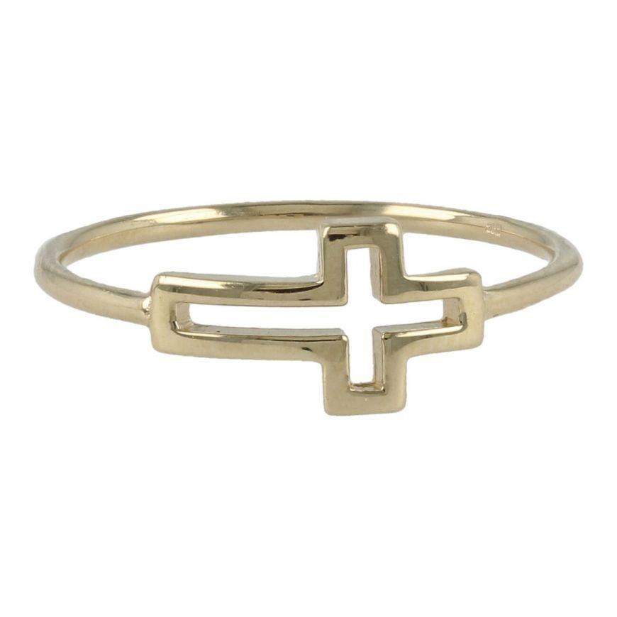 Anello con croce in oro 14kt | Gioiello Italiano