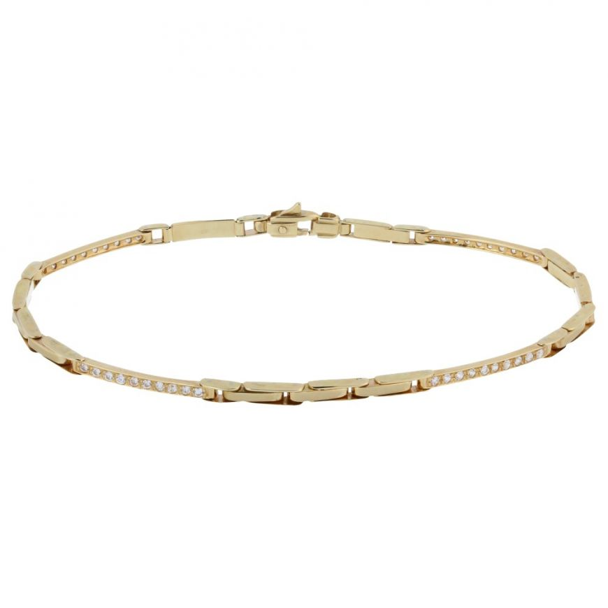 14kt yellow gold bracelet with white cubic zirconia | Gioiello Italiano