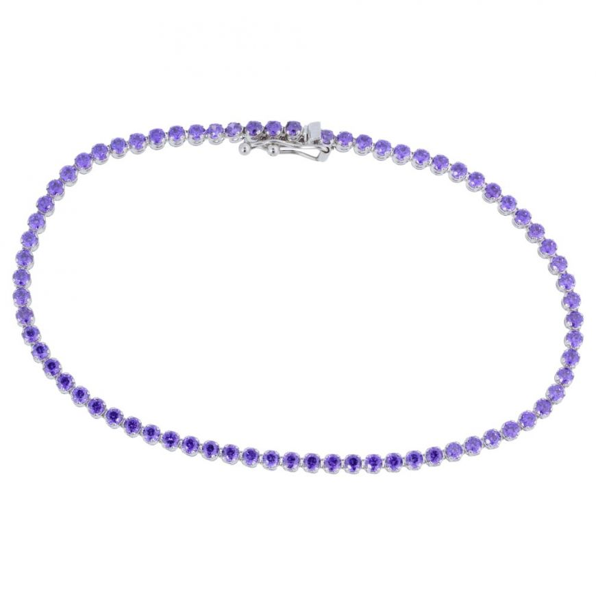 White gold tennis bracelet with purple cubic zirconia | Gioiello Italiano