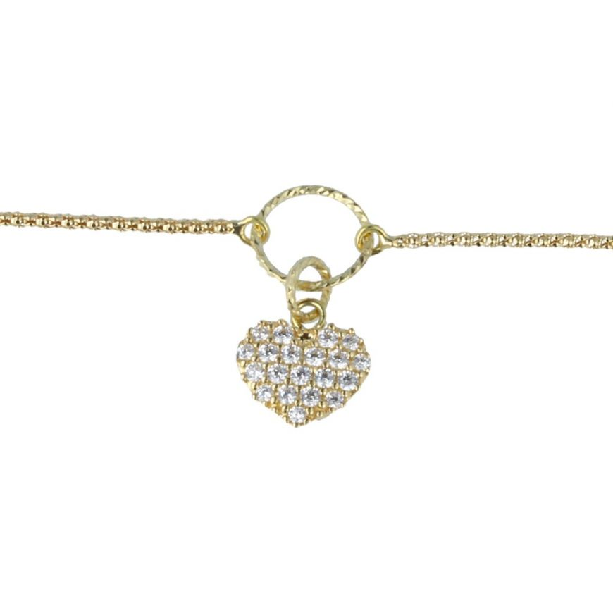 Yellow gold bracelet with heart pendant | Gioiello Italiano