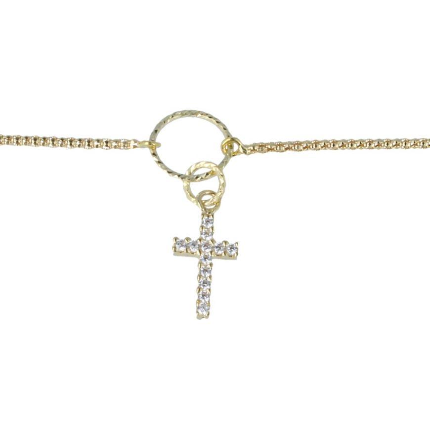 Yellow gold bracelet with cross pendant | Gioiello Italiano