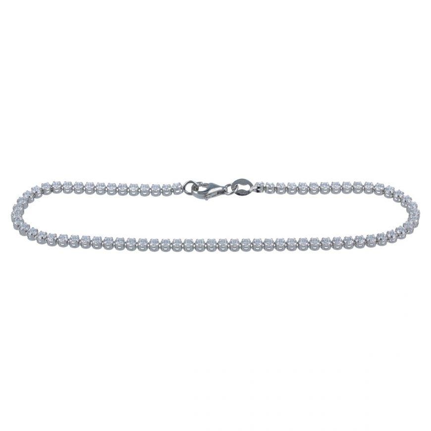 White gold tennis bracelet with white cubic zirconia   Gioiello Italiano