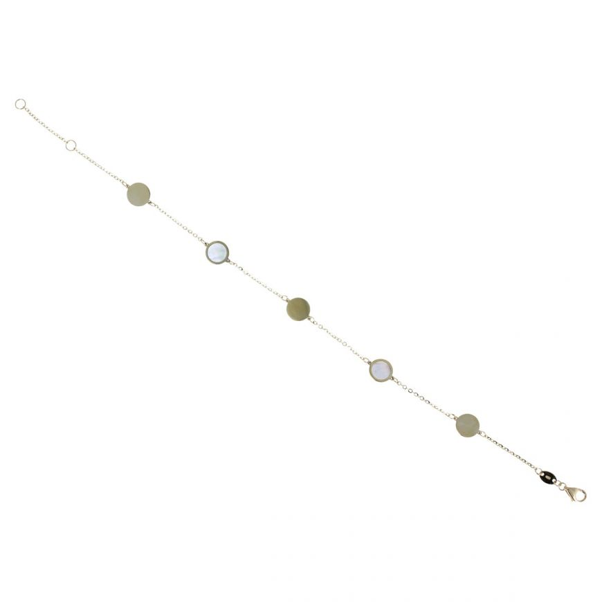 Round yellow gold bracelet with mother-of-pearl | Gioiello Italiano