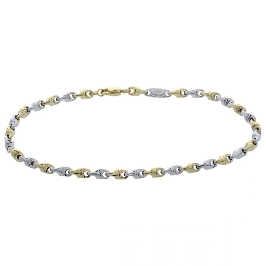 Bracciale link in oro bianco e giallo | Gioiello Italiano