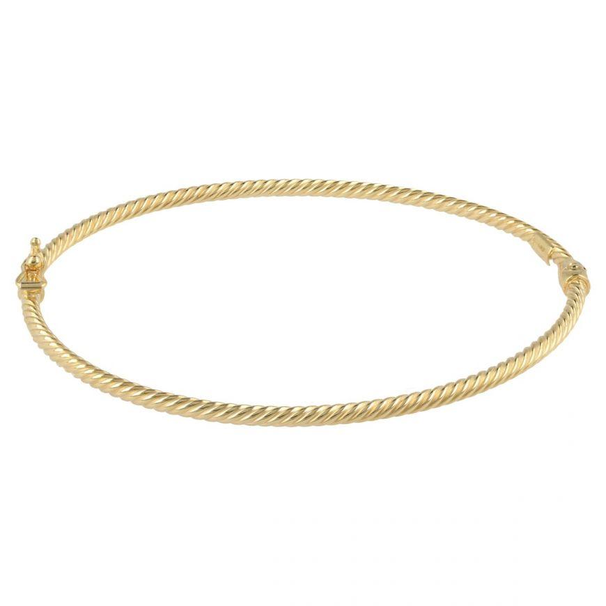 14kt yellow gold oval bangle bracelet | Gioiello Italiano