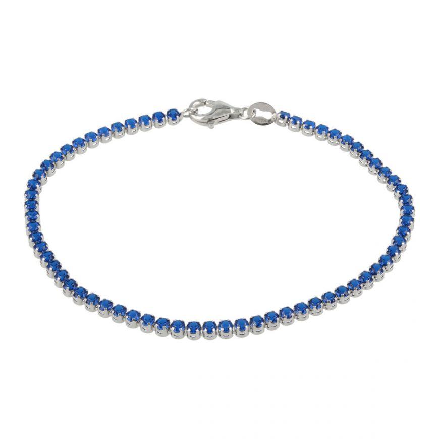 Bracciale tennis in oro bianco con zirconi blu | Gioiello Italiano