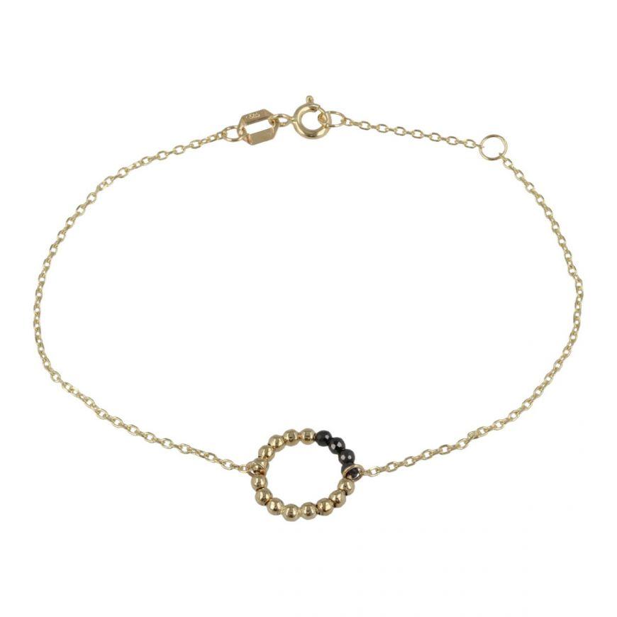 Bracciale in oro giallo con perline e zirconi neri   Gioiello Italiano