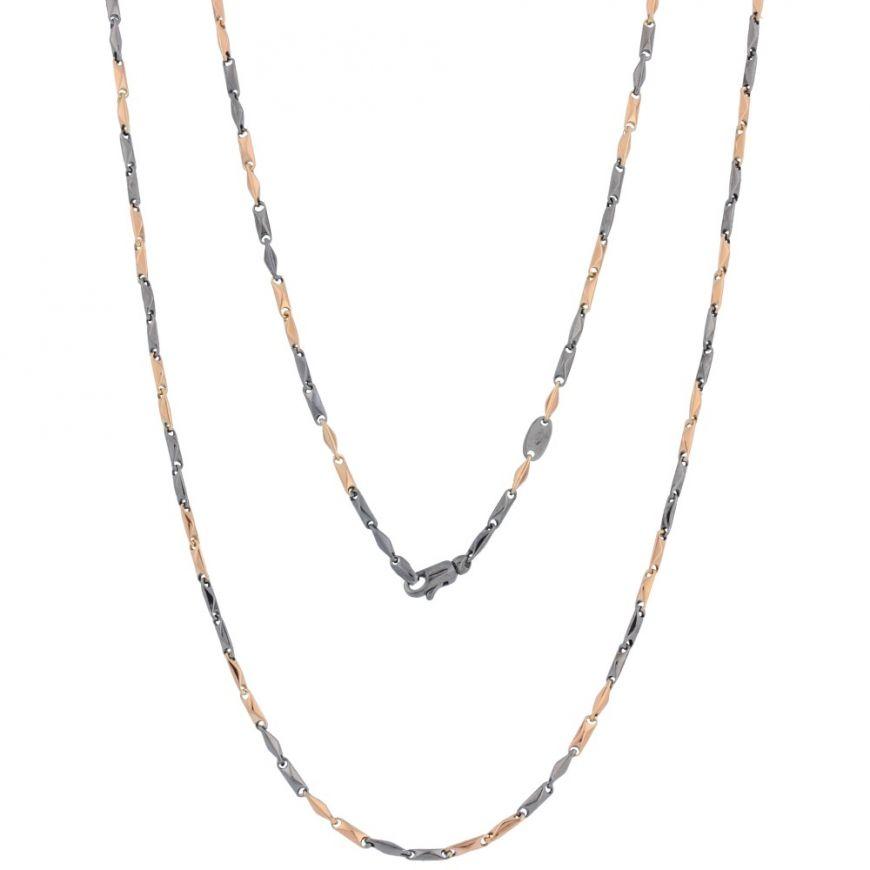 14kt rose gold chain with ruthenium | Gioiello Italiano